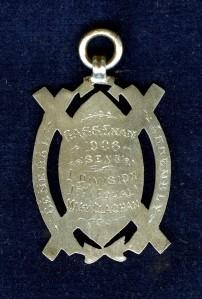 Inscription on back of Medal