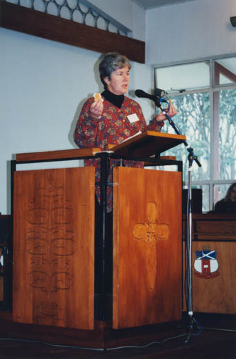 Very Rev. Marg Schrader speaking at General Assembly in 1996.
