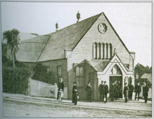 The first Anderson's Bay Church. This photograph has been taken following later additions that were added in 1881.