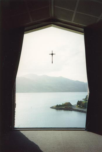 The view over Otago Harbour from the Broad Bay Chapel.