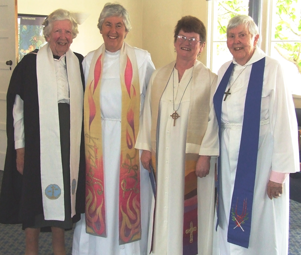 The four women who have been moderator of the Presbyterian Church of Aotearoa New Zealand.(Left to right) Mrs Joan Anderson (1979); Very Rev. Marg Schrader (1995); Very Rev. Pamela Tankersley (2006); Very Rev. Margaret Reid Martin (1987).