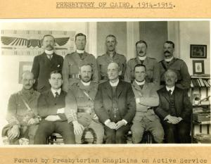 """Presbytery of Cairo"". Chaplain Major Rev. William Grant (3rd from left), who died at Gallipoli worked closely with Gibb on the Chaplain's Committee."